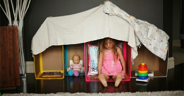 Diy playhouses to reuse all the cardboard boxes we get at our