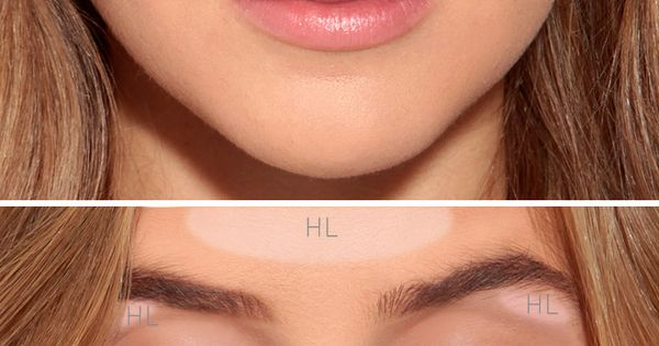 "Start by applying a light foundation in the areas labeled ""HL"" to"
