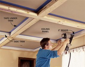 Ceiling Panels How To Install A Beam And Panel Ceiling Ceiling Panels Ceiling Diy Home Improvement