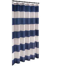 Allen Roth Polyester Navy Striped Shower Curtain 7015501