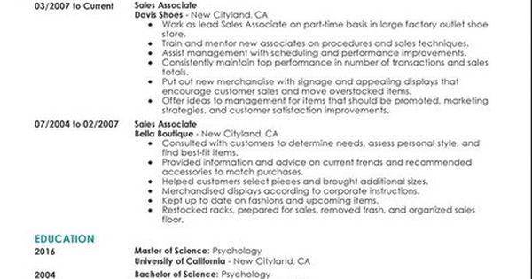 Retail Sales Associate Resume Sample That We Provide Here