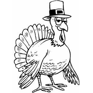 Turkey Wearing Hat Printable Coloring Page Free To Download And