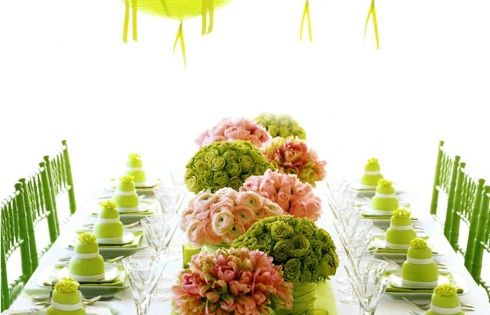 love the lime green decor outdoor table setting color scheme....