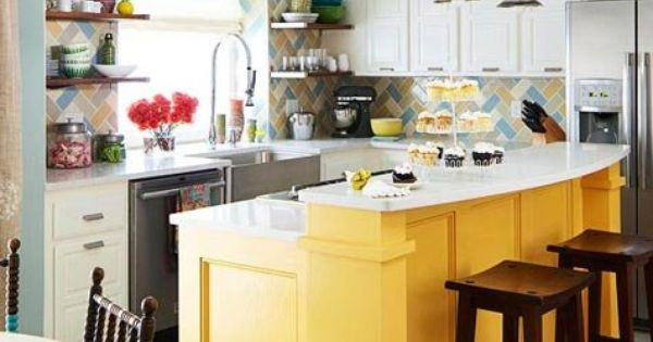 Charming Bright Yellow Kitchen Island