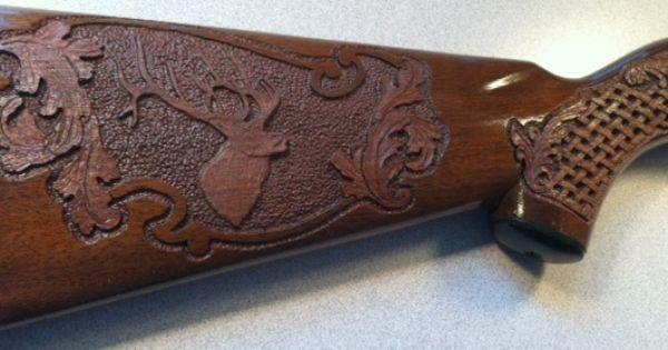 Carving A Basket Weave Pattern On A Gunstock : Relief carved gunstock elk basket weave