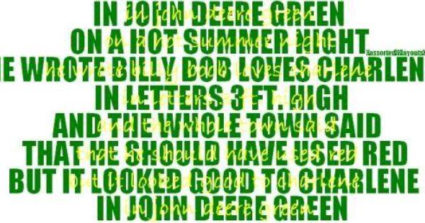 In Farmalllll Red On A Hot Summer Night He Wrote Billy Bob Loves