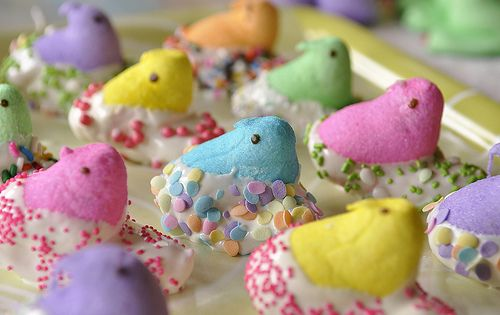 White chocolate covered Peeps with Sprinkles. Jessi will die...she loves peeps.