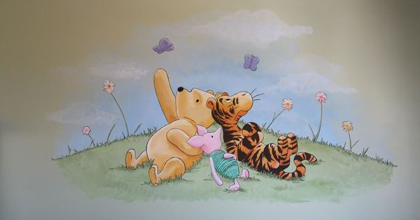 Classic pooh mural bubblegum creations winnie the pooh for Classic pooh wall mural