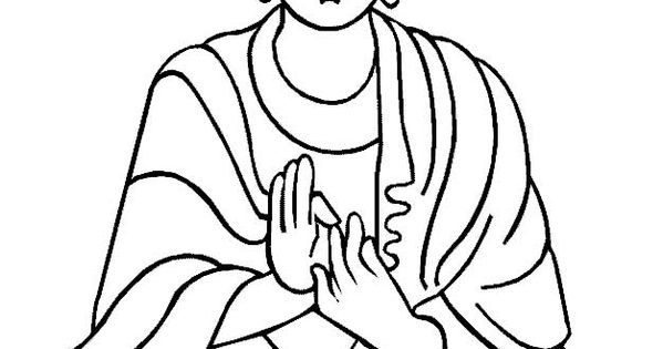 Zen Line Drawing : Buddha or a very large line drawing of white wall