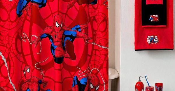 Curtain ideas bed bath beyond marvel spiderman shower for Spiderman bathroom ideas