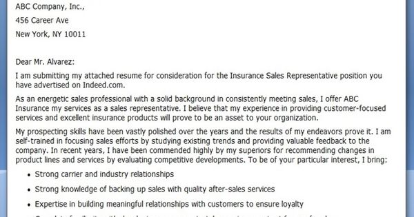 Insurance Sales Rep Cover Letter
