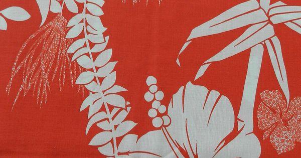 Vintage French Polynesian Uturoa Bold And Bright Red White
