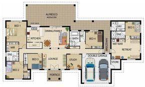 Plano De Casa Grande De 5 Dormitorios Y Garage Doble En Un Piso Planos De Casas Grandes Casas Grandes Planos De Casas Modernas