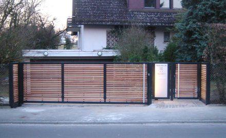 Modernes Tor Mit Holz Moderne Tore Trennwand Garten Toreinfahrt