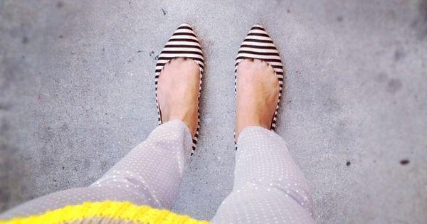 #stripes polkadots neon flats