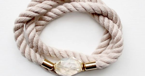 gold and crystal and rope bracelet
