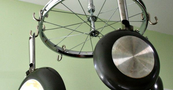 Do It Yourself Home Decorating Ideas: Old Bicycle Wheel As Pot And Pan Hanger (projects, Crafts