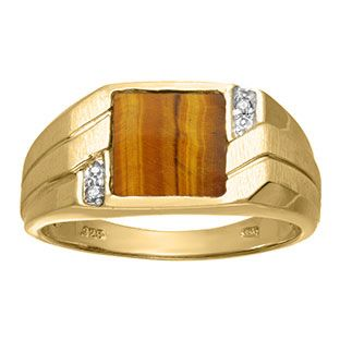 Birthstone Ring Sterling Silver or Yellow Gold Plated Silver Tiger Eye /& Diamond Ring