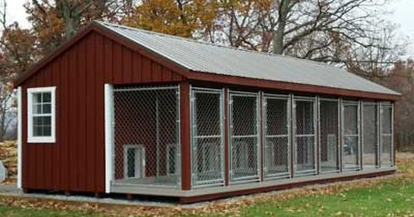Fully Assembled 12 X 32 Ft Amish Made Large 8 Run Dog Kennel With