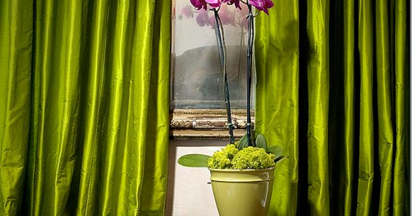 Lime Green Magenta Silk Curtains In Suzanne Somer 39 S Palm Springs Home Chartreuse