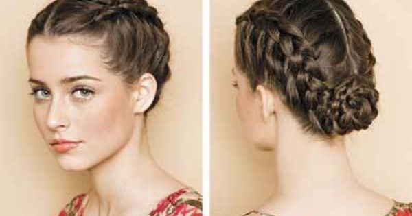 Lovely German Braid Inside Out Braid Twisted Into A Chingon German Hairstyle Hair Styles Braided Hairstyles