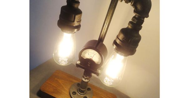 Pipe Style Edison Bulb Industrial Table Lamp By