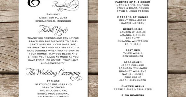 simple modern wedding programs - Google Search
