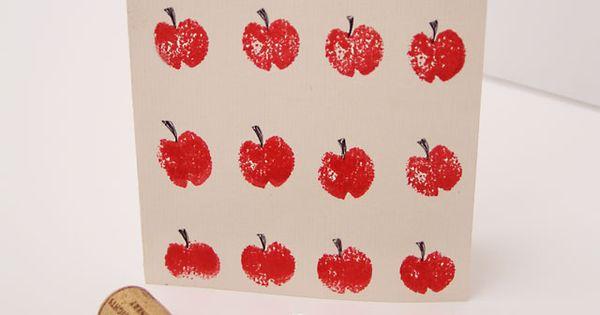 #DIY wine cork stamp Apple rosh hashanah- Sana tova - ראש השנה