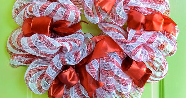 An updated version of the popular candy cane deco mesh wreath- A