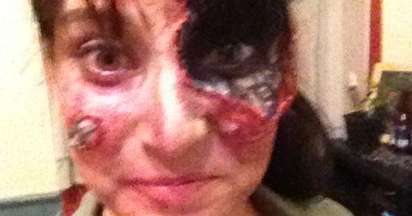 Cyborg Makeup! Liquid Latex, dark red pain from bruise ...