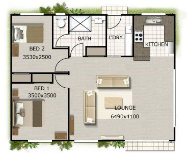 2 Bedroom Small Tiny House Plan Guest House Plans Small House Design House Plans