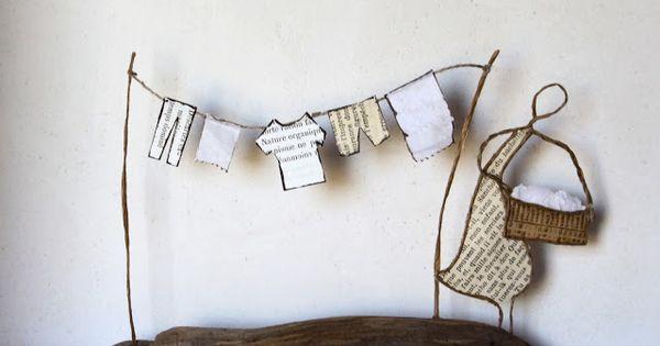 jour de lessive linge qui s che en d coupes de papier et portique en fil de kraft arm et. Black Bedroom Furniture Sets. Home Design Ideas