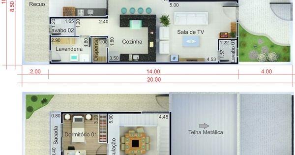 Plano de casa con techo integrado plano para terreno for Casas modernas 8x20