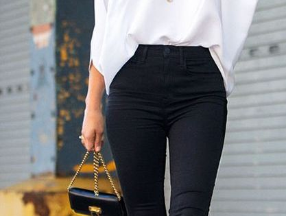 White loose blouse and high waist black skinnies. -- 60 Stylish Spring