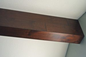 Wrapping A Drywall Ceiling Beam With Hardwood Flooring Fake Wood Beams Ceiling Beams Faux Wood Beams