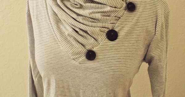 gathered cowl neck from V neck