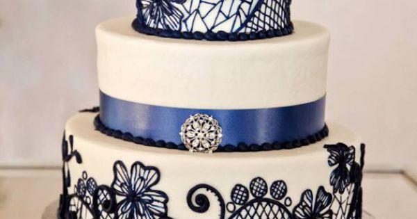 Cake Decorating Lace Pattern : Beautiful Blue Lace Pattern Three Tiered Wedding Cake ...