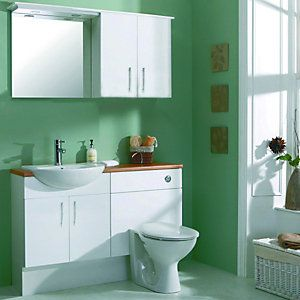 Wickes Seville White Gloss Fitted Vanity Unit 600mm Fitted Bathroom Furniture Fitted Bathroom Toilet And Sink Unit