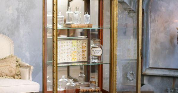 vintage shabby chic gilt vitrine mirrored rope detail antique french furniture pinterest. Black Bedroom Furniture Sets. Home Design Ideas