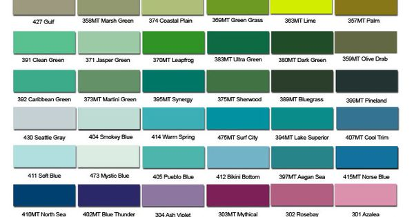 Top Secret Coatings Color Chart For Commercial And Residential Paints Paint Color Chart Epoxy Paint