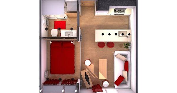 minipiso 25m2 beis blanco y rojo para relajarte con. Black Bedroom Furniture Sets. Home Design Ideas