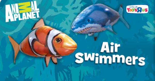 Air swimmers flying radio controlled clownfish and shark for Flying fish balloon