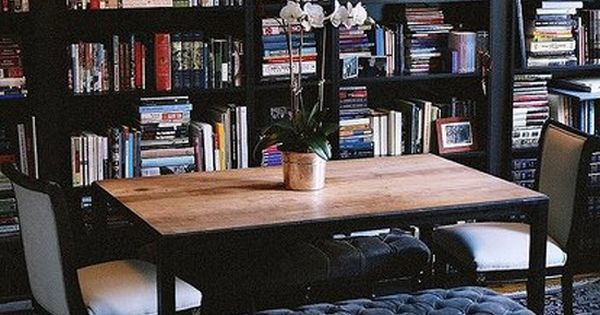 Ryan Korban design. Dark Bookcase and dining table with bench. - I