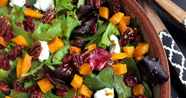 This Harvest Salad with Butternut Squash, Maple Pecans, and Curry Fig Vinaigrette is fresh and green and full of yummy bites of contrasting flavors and textures