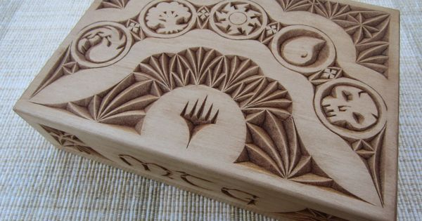Ales the woodcarver mtg card box chip carving