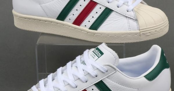 Adidas Superstar 80s Trainers WhiteGreenRuby