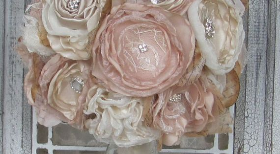 Bridal Brooch Bouquet Vintage Fabric Bouquet Champagne and Ivory This romantic fabric