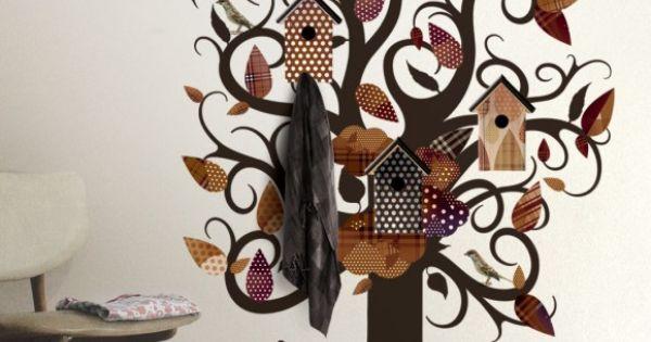 Kinderkamer Behang Vogelhuisjes : Muursticker boom met vogels ...