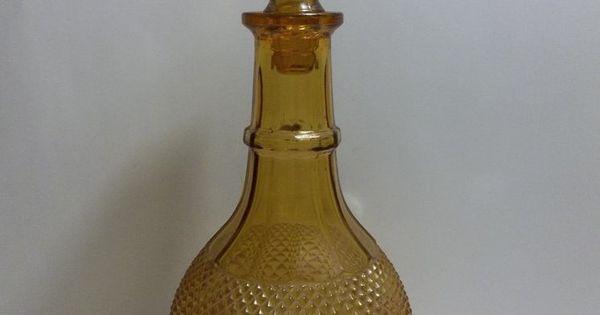 Vintage Ivima 1895 Art Glass Decanter Amber Diamond Point