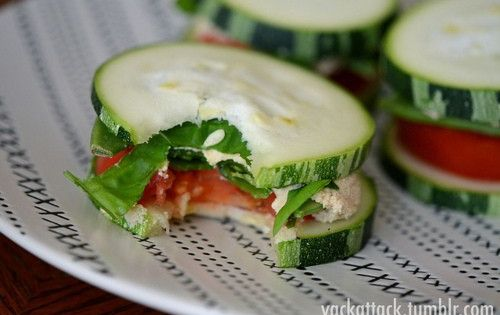 Healthy Snack: Cucumber Sandwiches (no bread) - do this with tuna salad